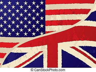 eua, britânico, grunge, bandeira