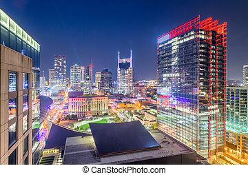 eua, centro cidade, nashville, skyline, cidade, tennessee