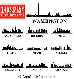 eua, cidades, silhuetas, 2, jogo