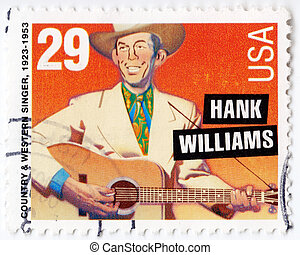 eua, -, circa, 1993, :, selo, impresso, em, eua, mostrando, hank, williams, americano, país cantor ocidental, 1993