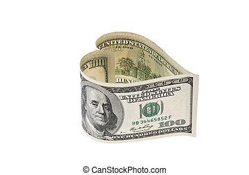 eua., dólares, nota, em, forma coração