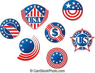 eua, e, americano, símbolos
