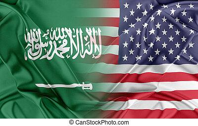 eua, e, arábia saudita