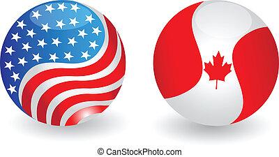 eua, e, canadá, bandeiras, globo