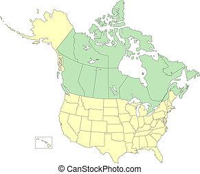 eua, e, canadá, estados, e, províncias