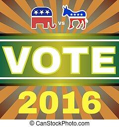 eua, eleição, 2016, elefante, contra, burro, bandeira