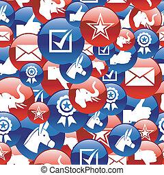 eua, eleições, lustroso, ícones, padrão