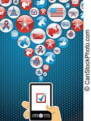 eua, eleições, online, votando
