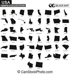 eua, estados, state., cobrança, mapas, pretas, nós, contorno