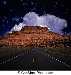eua, estrada, sudoeste