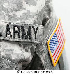 eua, exército, eua., remendo, bandeira, solder's, uniforme