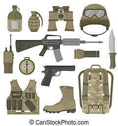 eua, exército, ilustração, símbolos, vetorial, otan, tropa, militar, ou