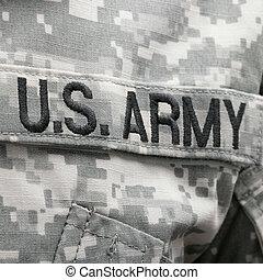 eua, exército, nós, remendo, bandeira, solder's, uniforme