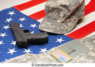 eua, exército, sobre, aquilo, nós, uniforme, bandeira, handgun