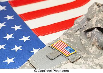 eua, exército, uniforme, com, chevron, sobre, bandeira