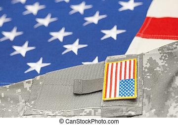eua, exército, uniforme, sobre, bandeira americana