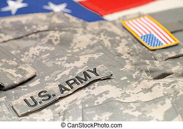 eua, exército, uniforme, sobre, bandeira e. u., -, tiro estúdio