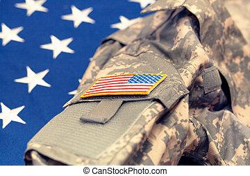 eua, exército, uniforme, sobre, bandeira nacional, -, tiro estúdio