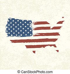 eua, flag., forma, de, americano, map., vetorial, eps10