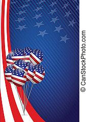 eua, graphic., bandeira americana, fundo, balloon