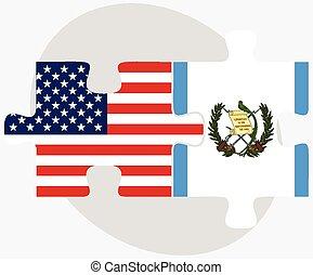 eua, guatemala, bandeiras, quebra-cabeça