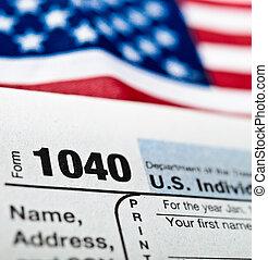 eua., indivíduo, forma retorno imposto rendimentos, 1040