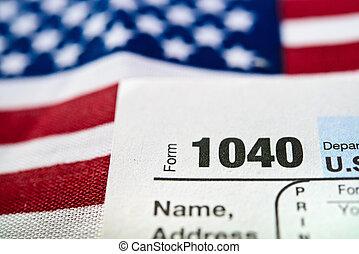 eua., indivíduo, forma retorno imposto rendimentos, 1040.