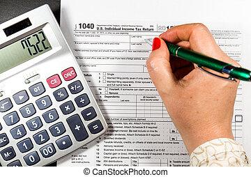 eua., indivíduo, imposto renda, return., imposto, 1040
