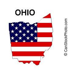 eua, listras, estado, desenho, estrelas, ohio