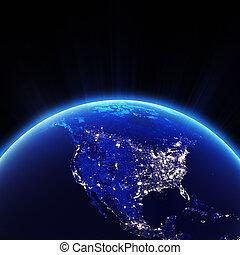 eua, luzes cidade, à noite