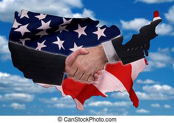 eua, mapa, esboço, com, aperto mão, e, bandeira
