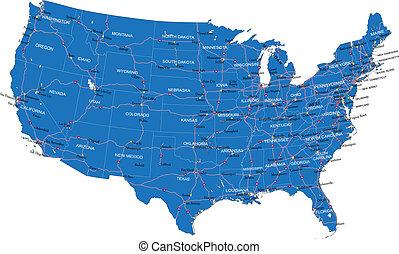eua., mapa estrada