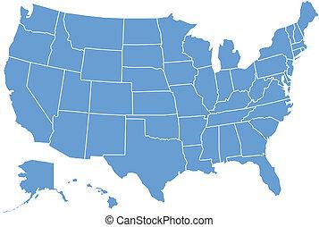 eua, mapa, por, estados