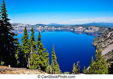 eua, nacional, lago, cratera, parque, oregon