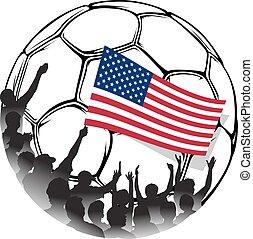eua, nacional, ventiladores, bandeira acenando, futebol