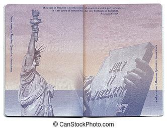 eua, página, passaporte, em branco