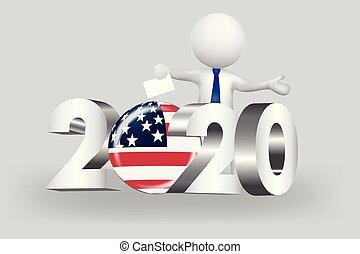 eua, pessoas, -, pequeno, 2020, voto, logotipo, 3d