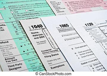 eua., retorno imposto renda, formulários, 1040