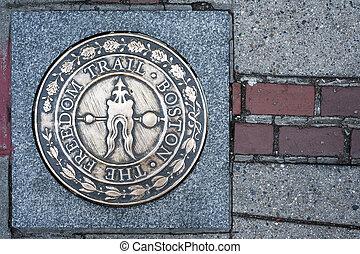 eua, sinal, boston, massachusetts, rastro, liberdade