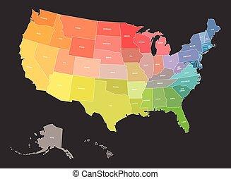 eua, spectrum., estados, cores, mapa, arco íris, estado, unidas, américa, nomes