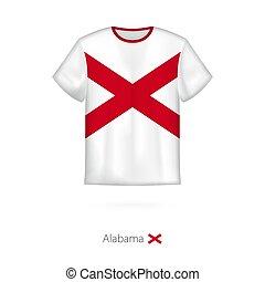 eua., state., t-shirt, bandeira, desenho, alabama