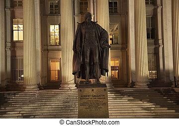 eua tesouraria departamento, albert, gallatin, estátua, cima, c.c. washington