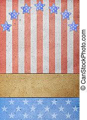 eua., trabalho, bandeira, 4th, julho, dia