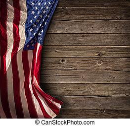 eua, vindima, -, bandeira americana, madeira, patriótico, envelhecido, celebração