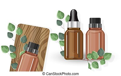 Eucalyptus essential oil bottles with dropper