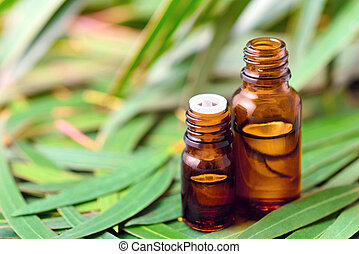 Eucalyptus essential oil on the eucalyptus leaves background
