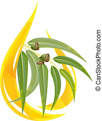 Eucalyptus essential oil. Stylized oil drop with branch.