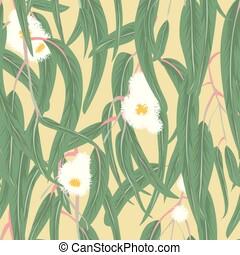 eucalyptus, feuilles, fleurs, seamless, modèle