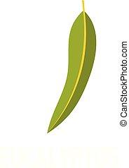 Eucalyptus leaf icon, flat style - Eucalyptus leaf icon....