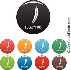 Eucalyptus leaf icons set color vector - Eucalyptus leaf...